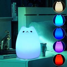 Buy Color Changing Sensitive Cute Cat Night Light for Kids, LED Soft Silicone Night Light Lamp Tap Controlled for Girlfriend Bedroom Decor Children Baby Nursery Lamp+USB Cable at Wish - Shopping Made Fun Animal Night Light, Led Night Light, Night Lights, Cat Light, Light Led, White Light, Usb, Lampe Tactile, Cat Lamp