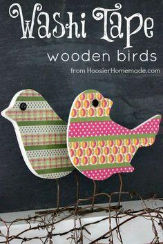 Washi Tape Wooden Birds: Spring Inspiration