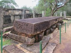 The Galpota or Stone Book at Polonnaruwa, Sri Lanka, describes the heroic deeds of King Nissanka Malla (1187-1196). On the end of the stone are two elephants sprinkling water over the Goddess of Prosperity.