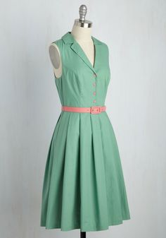 It's an Inspired Taste Dress in Sage. While some styles have to earn their admiration, this belted shirt dress is an instantaneous favorite. #mint #modcloth