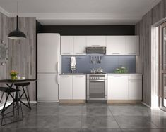 Yes, a white kitchen. Always my favorite, it's a special feeling of clean and relaxation. And the more simple the better. Kitchen Sets, Kitchen Dining, Kitchen Cabinets, Dining Room, Modern Table Legs, Sonoma Oak, Spring Cleaning, Interior, Home Decor