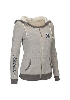 Xavier Womens Full Zip Jacket - Heather Grey Musketeers Sundance Long Sleeve Full Zip  http://www.rallyhouse.com/shop/xavier-musketeers-colosseum-15030468 $55.99