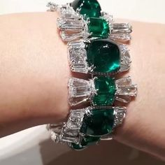 Marvelous diamonds & Emeralds Cuff @moussaieffjewellers via @blissfromparis !!