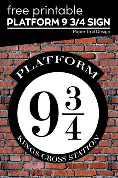Print this platform 9 3/4 sign for free and use our tutorial to make a fun platform 9 3/4 prick wall out of a plastic table cloth or shower curtain. Harry Potter Sign, Harry Potter Free, Harry Potter Wedding, Harry Potter Platform, School Coloring Pages, Paper Trail, Party Ideas, Party Themes, Diy Projects To Try