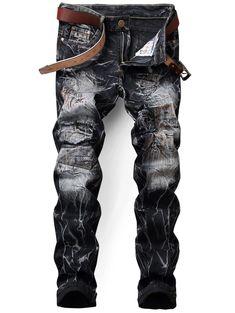 Zip Fly Tie Dye Applique Jeans - BLACK 34