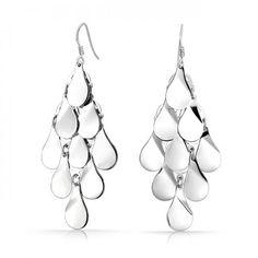 Teardrop 925 Silver Modern Chandelier Earrings Mirror Finish  #Fashion, #Jewelry, #JewelryEarrings, #OverstockJeweler