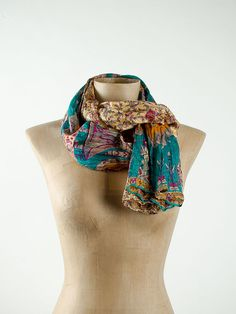 Floral Silk Scarf  Eco fashion recycled Sari Silk by tocamade, $17.00