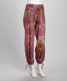 Take a look at this Coral & Green Brocade Harem Pants by Cotton Daisy on #zulily today!  $25 !!