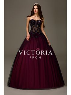 Sexy Beaded Tulle Satin Ball Gown Floor Length Sweetheart Prom Dress - US$178.99 - Style P2889 - Victoria Prom