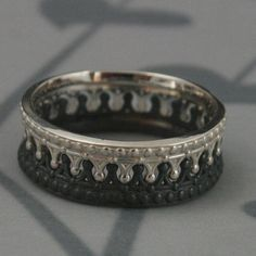 *Black and Sterling Silver Crown Band SET--Check Mate--Crown Ring--Queen and King Wedding Band Set--Custom Made in YOUR Sizes Silver Claddagh Ring, Silver Rings, Promise Rings For Couples, Rings For Men, Engagement Ring Settings, Engagement Rings, Argent Sterling, Sterling Silver, Wedding Band Sets