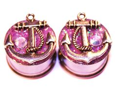 3/4 inch 19mm Anchor Gauges Plugs Pink Glitter by PlugsforGirls, $29.99
