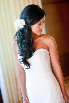 Wedding Hair With Simple White Flowers