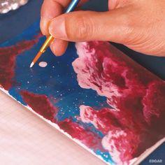 Small Canvas Art, Mini Canvas Art, Gouache Painting, Painting Clouds, Painting Art, How To Paint Clouds, Painting Quotes, Painting Lessons, Aesthetic Painting