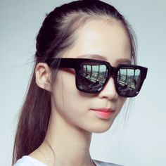 2015 Fashion Big Square Box Sunglasses Multicolour Reflective Glasses for Women Shoping with Male Cool Large Summer Style