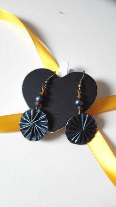 Boucles d'oreilles cabochons Nespresso bleues féériques : Boucles d'oreille par miss-perles