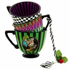 Alice in Wonderland tea cup ornament - Mad Hatter