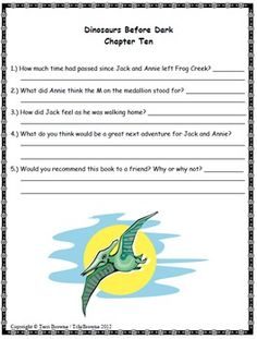 Tree House- Dinosaurs Before Dark Novel Study: Comprehension questions ...