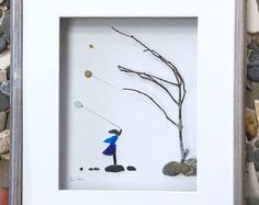 Pebble Art Girl with Balloons Modern Wall Art Abstract Contemporary in Shadow Box Signed.