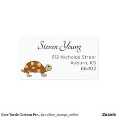 Pretty mailing labels decorated with a cute turtle cartoon character. Great for adding a touch of cuteness to your correspondence. Custom Return Address Labels, Address Label Template, Personalized Address Labels, Label Templates, Custom Labels, Cute Turtle Cartoon, Cute Animal Illustration, Mailing Labels, Custom Rubber Stamps