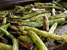 Roasted seasoned green beans. Super easy; just frozen green beans, olive oil, garlic salt, and Italian seasoning. Bake for 20-25 min at 450 degrees. add red pepper flakes