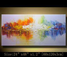 Wall art abstrait, expressionnisme texturé, empâtement la peinture de paysage, couteau à Palette peinture sur toile par Chen XX40