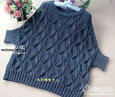 Оригинальный пуловер спицами с узором листики | Вяжем с Lana Vi