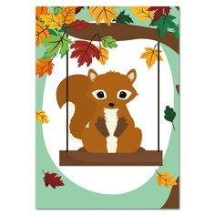 Postkaart Woodland | Herfst eekhoorn