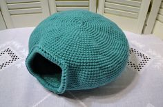 Crochet Cat Cave Nest Pet Bed Teal Green Blue by LittlestSister