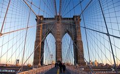and this one of Brooklyn Bridge - it looks like its held up with string!