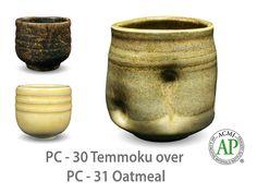 AMACO Potter's Choice layered glazes PC-31 Oatmeal and PC-30 Temmoku.