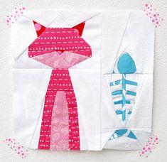 Smitten Kitten paper piecing pattern - quilt block - cat quilt