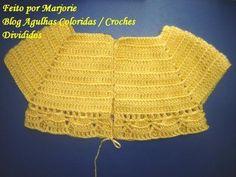 This Pin was discovered by Şer Crochet Yoke, Crochet Fabric, Crochet Cardigan, Crochet Patterns, Crochet Hats, Baby Girl Crochet, Crochet Baby Clothes, Newborn Crochet, Crochet For Kids