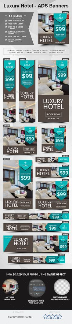 Luxury Hotel - ADS Banners - Banners & Ads Web Elements - Flight, Travel Destinations and Travel Ideas Hotel Ads, Hotel Logo, Hotel Advertisement, Hotel Brochure, Display Ads, Display Advertising, Advertising Ideas, Web Banner Design, Website Design Company