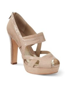 Neutral Suede/Snake-Embossed Heel  - Women's Shoes & Accessories - White House | Black Market
