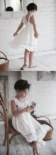 Cute Ivory Short Flower Girl Dress