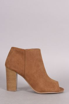 Qupid Peep Toe Ankle Booties - Avenue of Angels Mid Calf Boots, Thigh High Boots, Sexy Boots, Chunky Heels, Ankle Booties, Wedge Sandals, Heeled Mules, Peep Toe, Booty