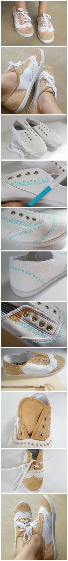 白布鞋变布洛克鞋,不是能工巧匠还真不行。(on a foreign blog) this explains it through the photos. Fabric pain the design on a plain white pair of sneakers