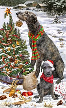 """New for 2013! Irish Wolfhound Christmas Holiday Cards are 8 1/2"""" x 5 1/2"""" and come in packages of 12 cards. One design per package. All designs include envelopes, your personal message, and choice of greeting.Select the inside greeting of your choice from the menu below.Add your custom personal message to the Comments box during checkout."""