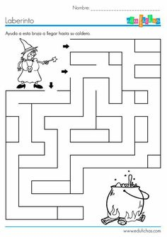 Crafts,Actvities and Worksheets for Preschool,Toddler and Kindergarten.Lots of worksheets and coloring pages. Halloween Labyrinth, Halloween Maze, Theme Halloween, Couple Halloween, Fall Halloween, Bricolage Halloween, Maze Worksheet, Halloween Crafts For Toddlers, Kids Crafts