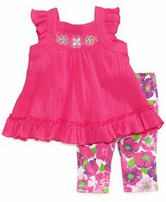 Kids Headquarters Baby Girls' 2-Piece Tunic & Floral-Print Leggings Set