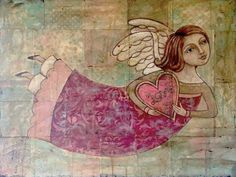 Love in Your Heart original painting by Teresa Kogut. Crafty Angels, Colonial Art, Heart Painting, Arte Popular, Angel Art, Christian Art, Painting Inspiration, Wall Art Decor, Folk Art