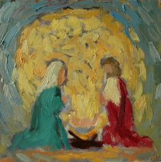 Christmas Painting Holy Family Nativity Scene Original Oil, original painting by artist Heidi Malott | DailyPainters.com