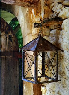 love the lantern and stone wall!