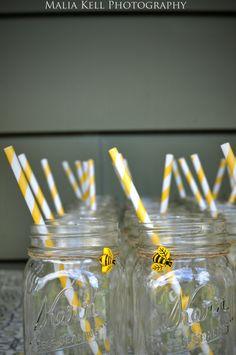 Honeybee themed mason jars