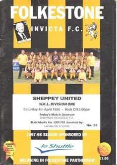 Folkstone v Sheppey United official programme 04/04/1998 Football League