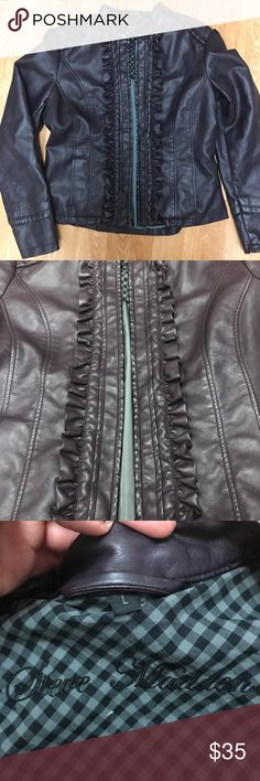 Steve Madden Dark Purple Faux Leather Jacket Steve Madden Dark Purple Faux Leather  Ruffles up the front on either side of the zipper  Great condition! No flaws! Size L Steve Madden Jackets & Coats