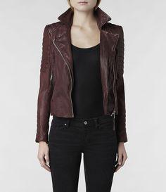 Womens Oxblood Leather Biker Jacket (Oxblood) | ALLSAINTS