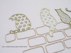 Cats on a Wall hand embroidery pattern by KFNeedleworkDesign, $7.50