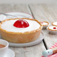 We've taken your classic Cherry Bakewell and made it GIANT! A family favourite big enough for everyone. We've taken your classic Cherry Bakewell and made it GIANT! A family favourite big enough for everyone. Mini Desserts, Delicious Desserts, Yummy Food, Baking Recipes, Cake Recipes, Dessert Recipes, Cherry Bakewell Recipe, Bakewell Tart, Mousse Au Chocolat Torte