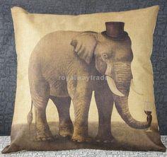 Cotton linen Pillow Case Cushion Cover Home Sofa Decor Elephant Hat 42x42cm #Unbranded #AnimalPrint